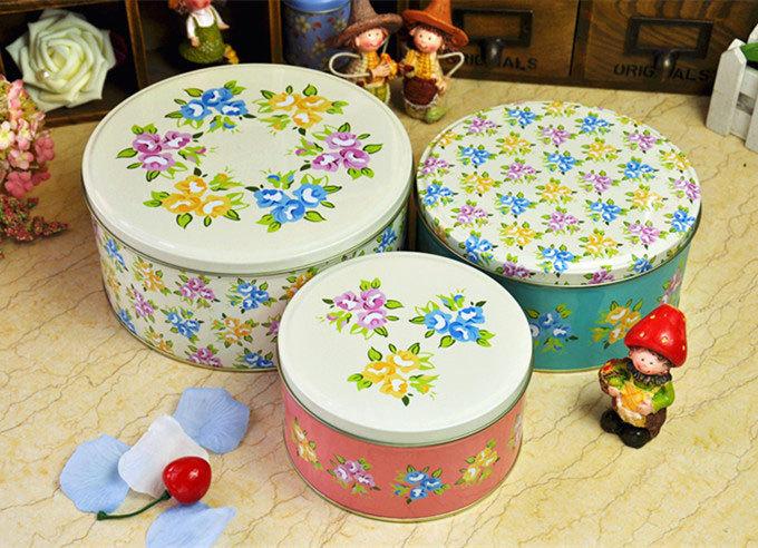 The new set of three small fresh floral round cake tin storage box storage snack candy(China (Mainland))