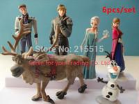 Hot sales 6pcs/set 4-11cm PVC Action & Toy Figures anime princess Elsa Anna doll Hans Kristoff Sven Olaf figures kids toys