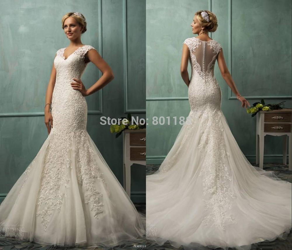 Aliexpress Buy 2015 Romantic V Neck Vestido De Noiva Bridal Dress Mermaid White Ivory