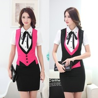 Spring Autumn Formal Female Skirt Suits Women Business Suits Vest Waistcoat and Skirt Sets Ladies Office Uniform Style