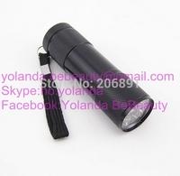 Mini UV Gel Curing Lamp Portability Nail Dryer LED Flashlight Currency Detector 9 LED Aluminum Alloy AAA Battery NNAT-009