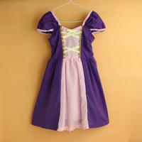 2015 new baby girl Rapunzel dress girls dresses  knit cotton kids clothes princess purple party dress baby clothing