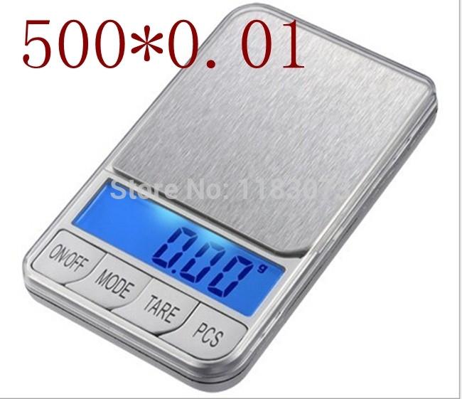 Big Discount!!! 500g 0.01 500g x 0.01g Electronic Digital Pocket Jewelry Balance Weight Scale with retail box +7 Units(China (Mainland))