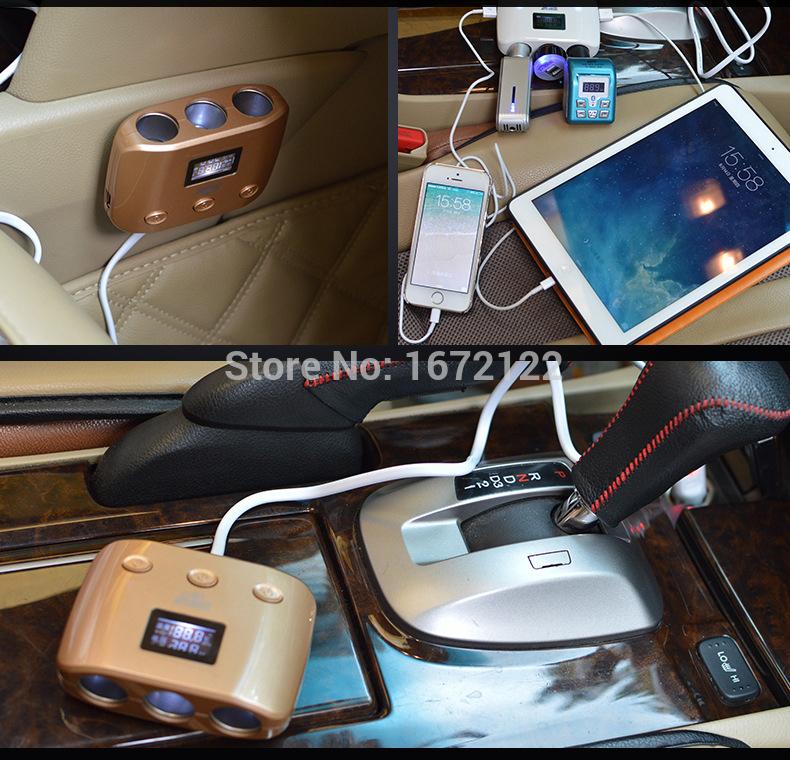 12v car cigarette lighter socket Accendisigari auto usb charger supply triple sockets car cigarette extension cigarette lighter(China (Mainland))