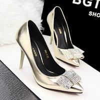 free shipping fashion elegant thin high-heeled pumps wedding shoes shallow mouth pointed toe rhinestone bow single shoes