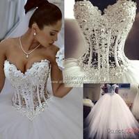 Luxury Vestidos De Noiva White Strapless Romantic Wedding Dresses Ball Gown Pearls Bridal Gowns Lace Up Back Vestido De Noiva