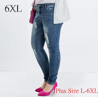 Plus size L-6XL 2015 Spring European and American fat MM was thin elastic large size hole in jeans female feet 100kg wear