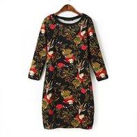 P46 2015 New Fashion Spring Summer Dress Women Dress Elegant Casual One-Piece Dress Black Collar Round Neck Knit Dress
