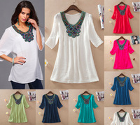 Summer Embroidery Dress Women Bohemian Plus Size Dress 2015 New Wholesale Colors L , XL ,XXL ,3XL