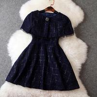 2015 New Spring Summer Dress Set Fashion Diamond Mantissas Outerwear One-Piece Dress Elegant Women Casual Dress F74