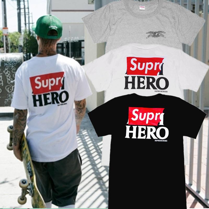 us suprem embroidery logo box Sup Hero shirt Cheap Box Logo New York T-shirt men's most popular sportswear black Suprem Tee(China (Mainland))
