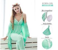 Bamboo Fibre Sexy  Strap Pajama Sets Long-sleeve Sleepwear 3pcs/set Female Lounge Come Pink + Yellow + Green + Grey