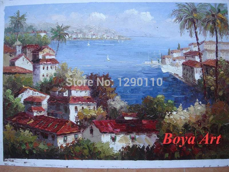 "2015 Direct Selling Picture Rectangle 24""x36"" High Quality Handmade Oil Painting Mediterranean Landscape Art On Canvas WE 043(China (Mainland))"
