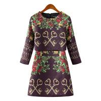 P53 2015 New fashion Spring Summer Dress Women Dress Elegant Casual One-Piece Dress Retro Key Jacquard Slim Dress
