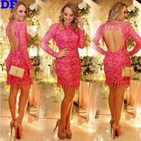 Elegant Red Evening Party Dresses Vestidos De Festa 2015 Vintage Tassel Backless Women Dress Sheer Lace Backless Casual Dress XL