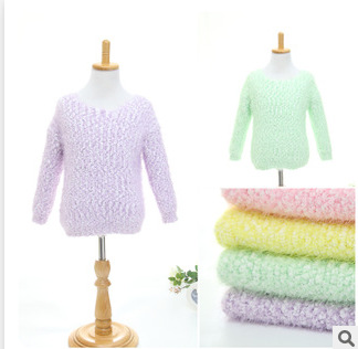 2015, the new girl, pure color, knitted plush, pullovers P023(China (Mainland))