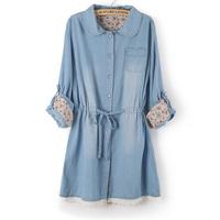2015 new laciness water wash denim long-sleeve dress plus size thin women's denim dress