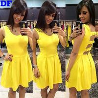 2015 New Women Dress A-Line Cute Princess Party Dresses Plus Size Casual Summer Dress Yellow Backless Vestidos De Festa On Sale!