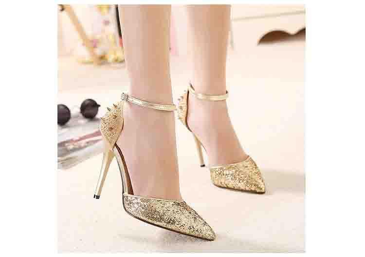 Design da marca 2015 primavera e outono europa sapatos femininos da moda rebite pequena cúspide sapatos de salto alto de sapatos de fivela grátis frete(China (Mainland))