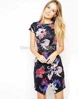 2015 Fashion Women Summer Tropical Dress Floral Print Vestidos Short Sleeve Slim Casual Dresses Women