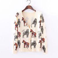 Cartoon Design Animal Printed Cardigan Sweater Coat and Jacket Slim Loog Sleeve Knitted Short Sweaters Women 2015 New Fashion