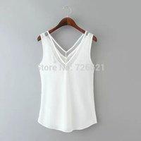 New European brand 2015 casual Deep V Neck chiffon women tank tops,camisole fashion summer women vest blusas femininas