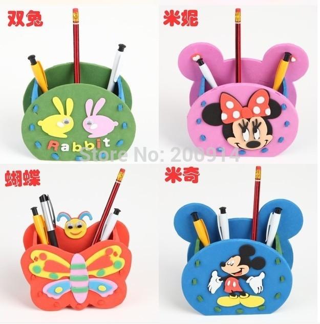 15 designs/lot storage box Kids Handmade toy pen holder DIY 3D mini Animal EVA foam Puzzle EVA Craft Kits Educational Toys(China (Mainland))