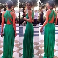 HONEY MODA women green maxi dress prom vestidos