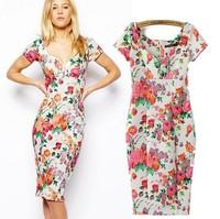 2015 spring and summer new  print flower collar Slim thin hip dress women Elgance 0115