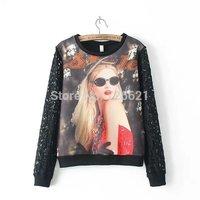Wholesale New 2015 Women Hoody Spring Autumn Fashion Lace Patchwork 3D Women Print Hoodies Casual sudaderas Sweatshirts