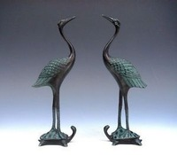 Collectible Vintage Pair Bronze Crafted Sculptures Crane Standing On Turtle bronze craft Copper sculpture home decoration