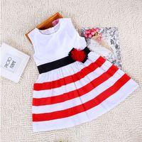 Baby Kid Girls One Piece Dress Red White Striped Bow Summer Dress