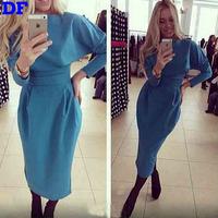 Vestidos 2015 Long Sleeve Winter Dress Brief Slim Women Dress Plus Size Elegant Party Dresses Red Vestidos De Festa Wholesale!!!