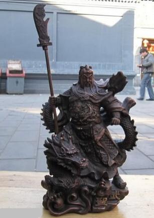 """huij 008139 10""""Chinese red Bronze martial nine Dragon Guan Gong guan yu warrior statues(China (Mainland))"""