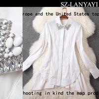 Free shipping 2015 spring white shirt fashion product basic shirt medium-long top t2836 ladies blouse tops shirt vva2058