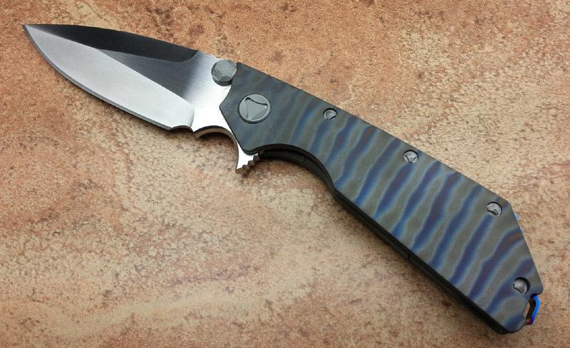 Microtech DOC folding knife D2 blade titanium fire grain shank outdoor survival pocket knives hunting knife