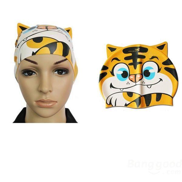 ShaRock Children Silicone Animal Cartoon Swimming Cap Tiger Swimming Hat(China (Mainland))