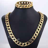 JEWELRY SET 13mm Heavy Mens Chain Boys Gold Tone Cut Curb Cuban Chain 316L Stainless Steel Necklace Bracelet Set HS25