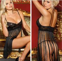 Sexy Lingerie Babydoll Dress Women Nightwear Sleepwear Black Lace Fringe Mini Dress with G-string Ladies Transparent Underwear