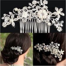 EA14 Bridal Wedding Flower Crystal Rhinestone Hair Clip Comb Pin Diamante Silver