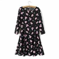 P47 2015 New Fashion Spring Summer Dress Women Dress Elegant Casual One-Piece Dress Purple Flowers Cotton Dress
