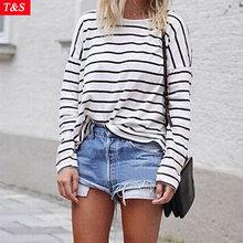Women Casual Basic Shirt 2015 New Fashion Long Sleeve Black White Striped Blouse Loose O Neck All-Match Tops Blusas Femininas(China (Mainland))