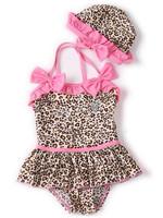 New 2015 Infant Baby Girls Toddler Swimwear Leopard Bikini Kids Bathing Suit One-Piece Swimsuit swim wear