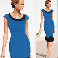 Fashion Short Sleeve Women Dress Patchwork Charming Ruffles O-neck Sheath Sexy Ladies Dresses 4Colors jk853739