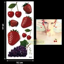 New 1PC Fashion Women Men Waterproof Temporary Tattoo Simulation Removable Vivid Body Art 3D-01 Strawberry Cherry Grape Fruit(China (Mainland))