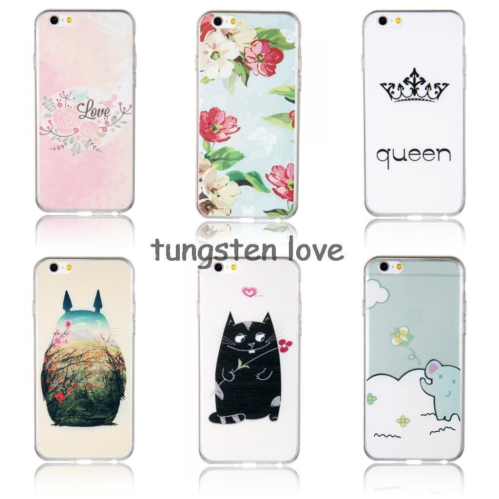 Ultra thin 0.3mm Slim Soft Case For Iphone 6 4.7 Inch Cartoon cat elephant Totoro rose flower Bikini bowknot Crown queen(China (Mainland))