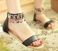 Free shipping/National wind restoring ancient ways tassel pendant Bohemia sandals beaded Roman sandals women