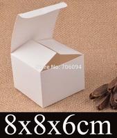 8*8*6cm Cosmetic/Jewerly white paper box 3.1''*3.1''*2.4'' handmade gift boxes,Essential oil box,custom box logo 100pcs/lot