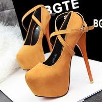 free shipping fashion ultra high heels velvet platform shallow mouth single shoes cross belt high-heeled pumps wedding shoes