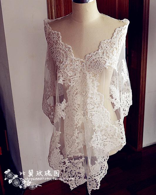 Exquisite bride wedding dress formal Lace fabrics cape veil table lace decoration 42cm wide clothes accessories(China (Mainland))